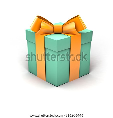 Torquise gift box with yellow ribbon and soft shadow isolated on clean white background - stock photo