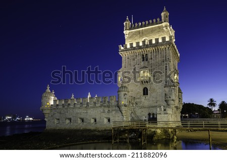 Torre de Belem (Belem Tower lighthouse) at Lisbon, Portugal - stock photo