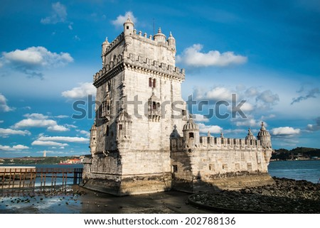 Torre de Belem (Belem Tower) on the Tagus River guarding the entrance to Lisbon in Portugal. - stock photo