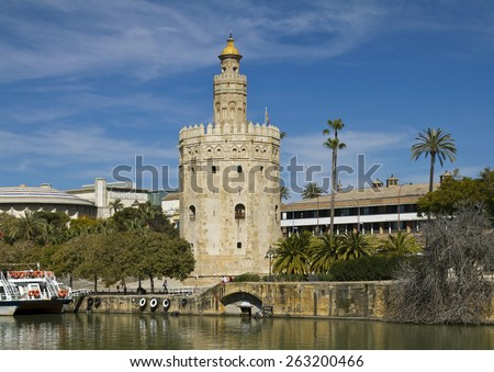 Torre de Oro is  a dodecagonal military watchtower in Seville