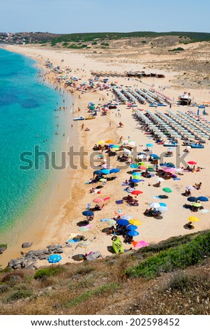 Torre dei Corsari beach along Green coast, west Sardinia, Italy - stock photo