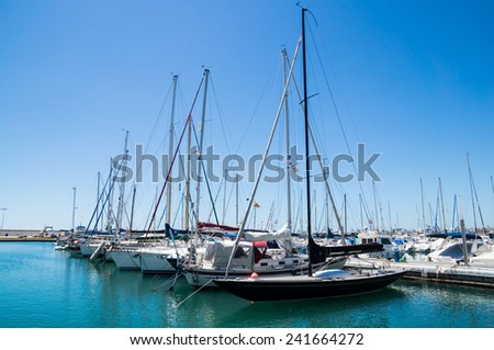 TORRE DEL MAR, SPAIN - APRIL 26: A view of Torre del Mar on April 26, 2014 in Torre del Mar, Malaga, Spain. This nautial port has berths for 200 boats.