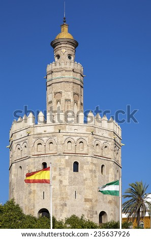 Torre del Oro (Tower of Gold) in Sevilla, Spain  - stock photo