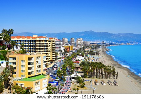 TORREMOLINOS, SPAIN - MARCH 13: Bajondillo Beach and ocean front walk on March 13, 2012 in Torremolinos, Spain. This popular beach is about 1,100 meters long and 40 meters average width - stock photo