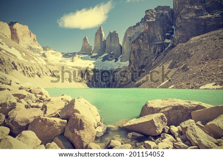 Torres del Paine mountains and lake in Chile, Patagonia, vintage retro filter.  - stock photo