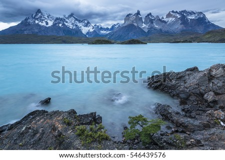 Torres del Paine National Park at the dusk. Lago lake. Patagonia, Chile