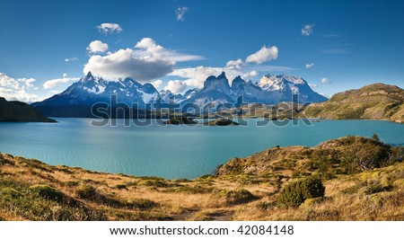 Torres del Paine National Park, Patagonia, Chile: The Turquoise Lake (Lago) Pehoe and the Majestic Cuernos del Paine (Horns of Paine)