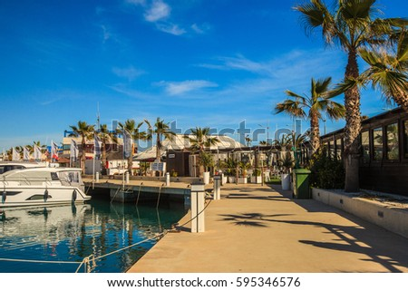 TORREVIEJA, SPAIN –  FEBRUARY 14, 2017: Puerto Marina in Torrevieja. Costa Blanca, Alicante Province, Spain.