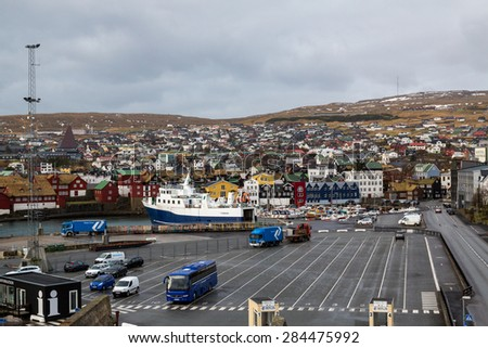 Torshavn, Faroe Islands, 7th February 2015. Torshavn port carries commercial and local residents between the islands and Denmark - stock photo
