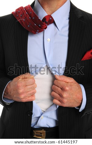 Torso of businessman opening shirt to reveal t-shirt - stock photo