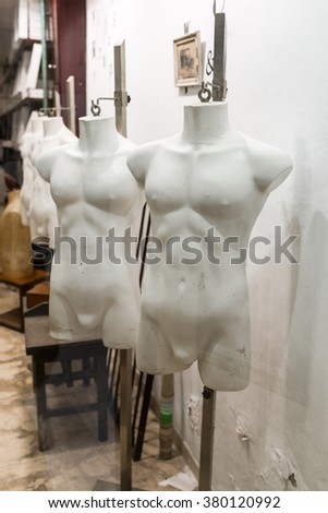 Torso of mannequins in the store window, undressed, in expecting to show sophisticated fashion in the El Born/Ribera district of Barcelona. The city is famous for fashion, design and modern lifestyle