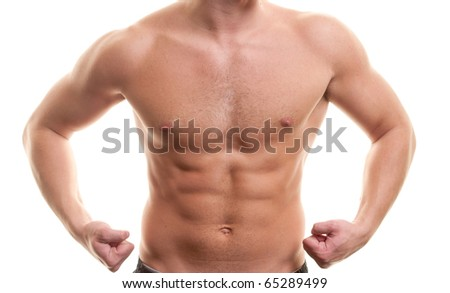 Torso of muscular young man isolated on white - stock photo