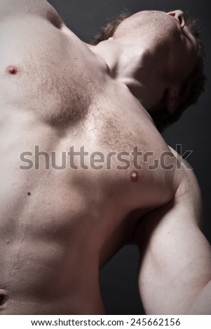 Torso of the young man in a foreshortening