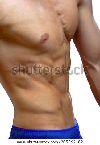 torso of young man - stock photo