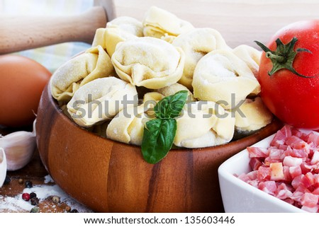 Tortellini, italian cuisine - traditional homemade italian food - stock photo