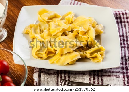 Tortellini shells filled with cheese