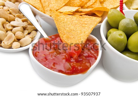 Tortilla chips and appetizer on the white - stock photo