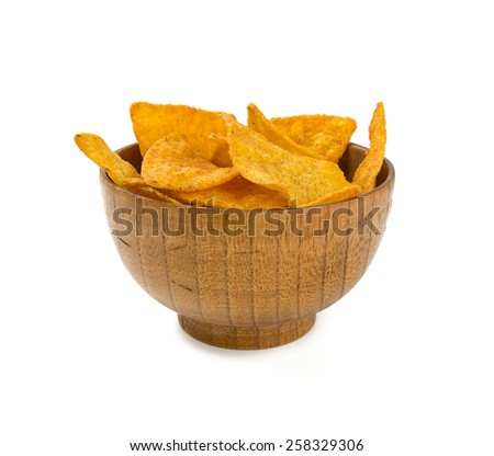 tortilla chips in a wooden bowl isolated on white - stock photo