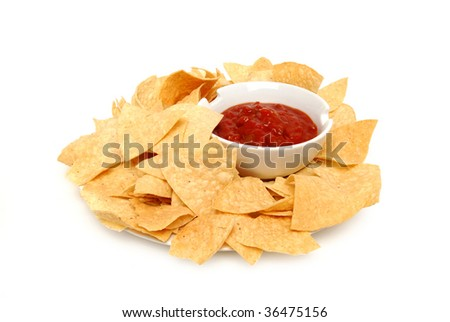 tortilla chips on plate - stock photo