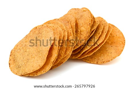 tortilla chips on white background - stock photo
