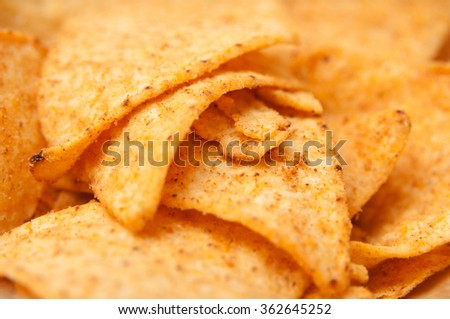 Tortilla chips pile in macro mode