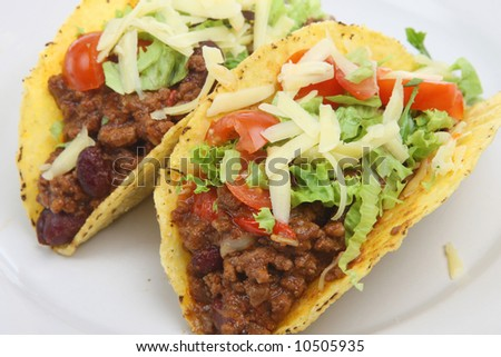 Tortilla shells with spicy chilli beef