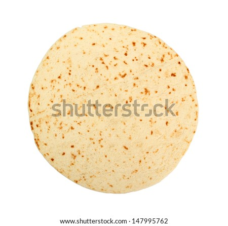 Tortilla Wrap Bread. Isolated on a white background. - stock photo