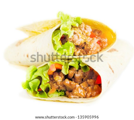 tortilla wraps  isolated on white. Selective focus - stock photo