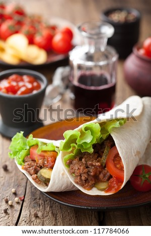 tortilla wraps with meat and vegetables - stock photo