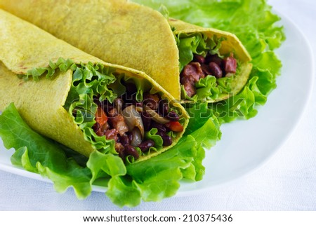 tortilla wraps with vegetables on a plate - stock photo