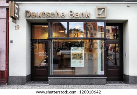 TORUN, POLAND - SEPTEMBER 5: Deutsche Bank on September 5, 2010 in Torun, Poland. DB is the largest German bank and 4th largest worldwide with assets of USD 2.43 trillion as of 2010.