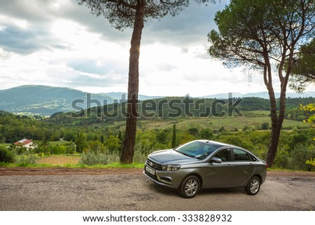 Toscana, Italia October 22, 2015: New Russian Cars LADA VESTA. Test Drive on October 22, 2015 in Tuscany, Italy