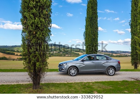 Toscana, Italia October 22, 2015: New Russian Cars LADA VESTA. Test Drive on October 22, 2015 in Tuscany, Italy - stock photo