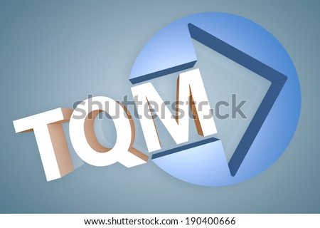Total Quality Management - acronym 3d render illustration concept with a arrow in a circle on blue-grey background - stock photo