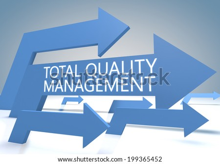 Total Quality Management 3d render concept with blue arrows on a bluegrey background. - stock photo