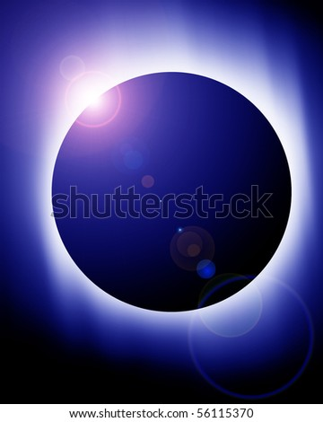 total solar eclipse on a dark blue background - stock photo
