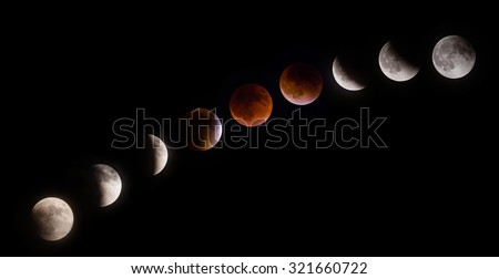 Total supermoon lunar eclipse, also known as a blood moon, phases observed on September 27 2015 in the Texas sky - stock photo