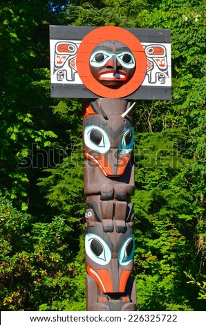 Totem Pole at Stanley Park Vancouver British Columbia - stock photo