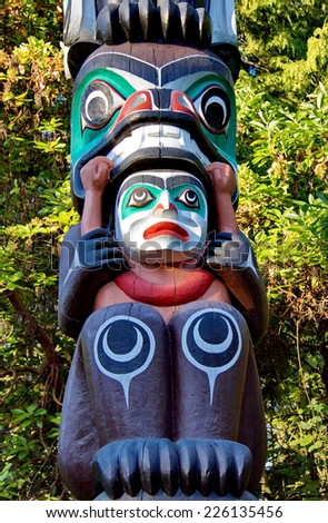 Totem Pole in Stanley Park Vancouver British Columbia - stock photo