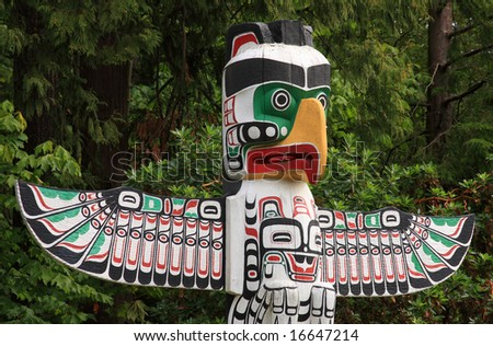Totem Pole In Vancouver BC - stock photo