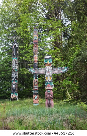 Totem poles in Stanley Park. Editorial: April 26, 2016 -  The totem poles in Stanley Park are one of the most visited attractions.