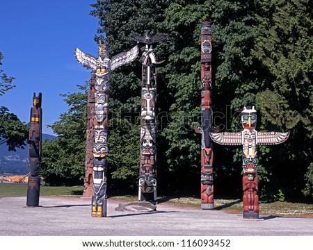 Totem Poles, Stanley Park, Vancouver, British Columbia, Canada. - stock photo