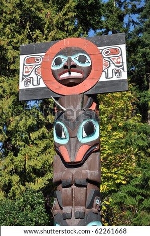 Totem shaped in Stanley park, BC Canada - stock photo