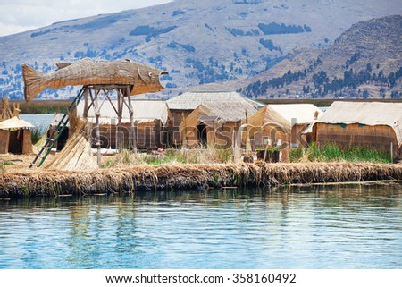 Totora boat on the Titicaca lake near Puno, Peru