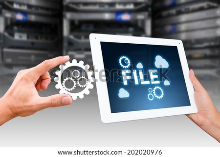 Touch pad and File control the system  - stock photo