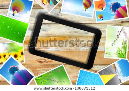 touch pad PC and streaming images - stock photo