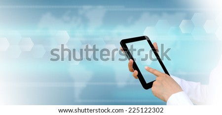 touch pad PC on women hand  - stock photo