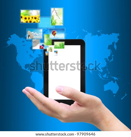 touch pad PC with streaming images - stock photo