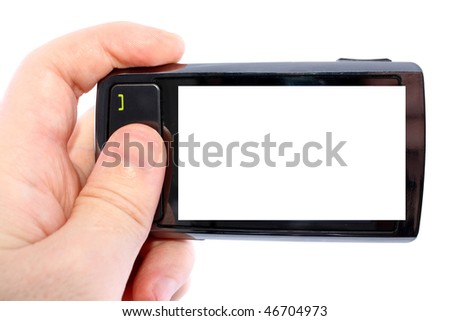 Touch phone turned for photographing in a man's hand isolated on white background - stock photo