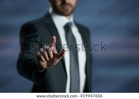 Touch screen business futuristic concept, finger push interface, design template - stock photo